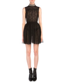 Studded Collar Allover Lace Dress