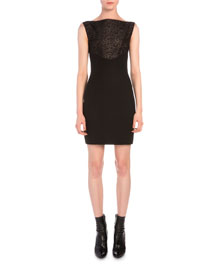 Semisheer Lace Jacquard Combo Sheath Dress