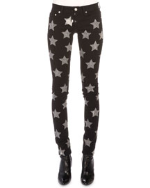 Star-Print Denim Skinny Jeans