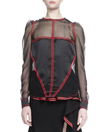 Satin-Paneled Sheer Blouse