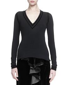 Velvet-Trimmed Jersey Top