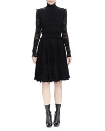 Long-Sleeve Ruffle-Trim Stripe-Ruched Dress