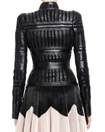 Laser-Cut Sheer Paneled Leather Jacket
