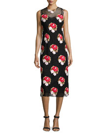 Floral-Embroidered Sleeveless Pencil Dress, Black/Multi