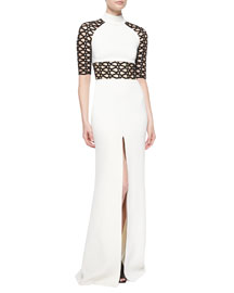 Two-Tone Lace-Detail Gown, Black/Ivory