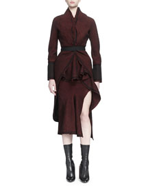 Tweed Tail-Back Belted Coat