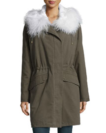 Parker Fur-Trimmed Canvas Coat