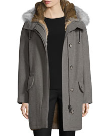 Cashmere Parka w/Fur Lining, Gray
