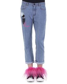 Karlito Fur Applique Boyfriend Jeans