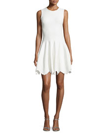 Sleeveless Floral-Embossed Dress, White