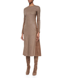 Long-Sleeve Suede Paneled Midi Dress