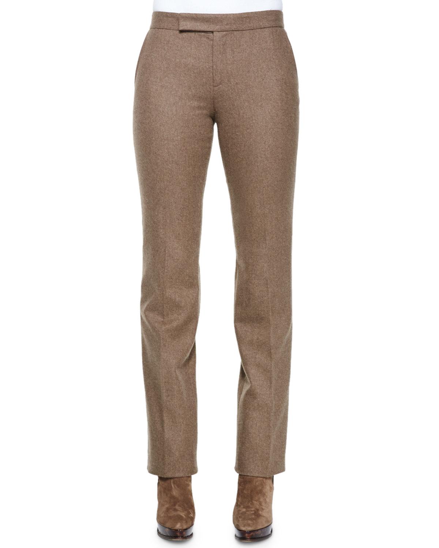Worsted-Wool Straight-Leg Pants, Truffle