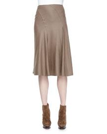 Cassandra Worsted-Wool Skirt, Truffle