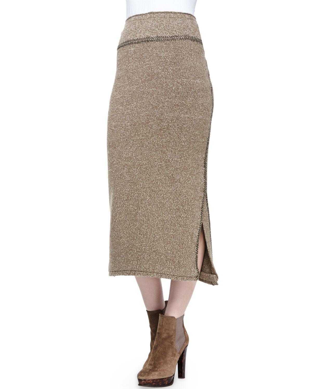 Long Heather Cashmere Midi Skirt