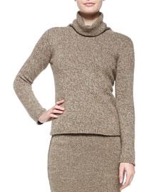 Heathered Cashmere Turtleneck Sweater