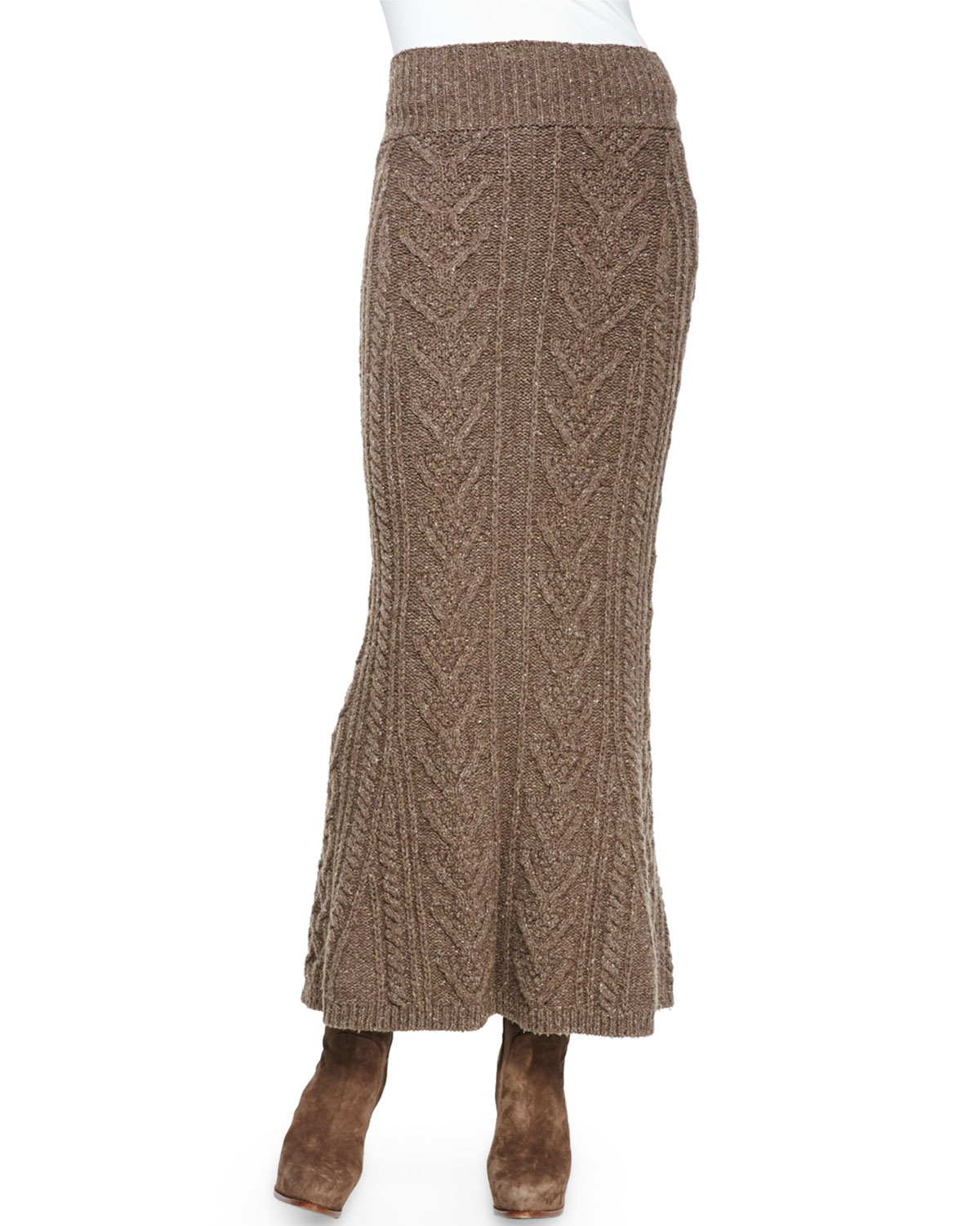 Long Cable-Knit Cashmere Skirt, Truffle Melange