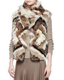 Long Hair Shearling Fur Vest, Pale Stone