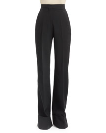 High-Waist Double-Faced Pants, Black
