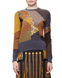 Patchwork Mixed-Pattern Knit Sweater