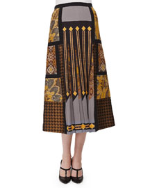Mixed-Print Patchwork Pleated Midi Skirt