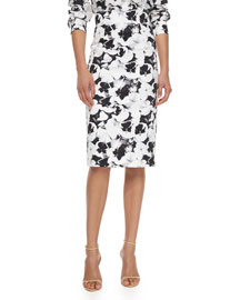 High-Waisted Pansies-Print Pencil Skirt