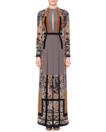 Floral-Print Slit-Keyhole Pleated Gown