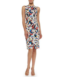 Printed Stretch-Cotton Sheath Dress