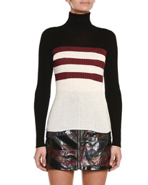 Colorblock Triple-Striped Turtleneck Sweater