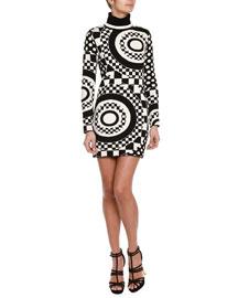 Geometric-Print Jacquard Sweaterdress