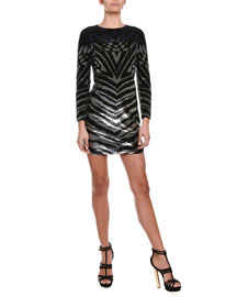 Ombre Sequined Zebra-Striped Sheath Dress