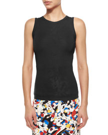 Sleeveless Cashmere/Silk Tank, Black