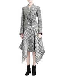 Heavy Tweed Flared Coat