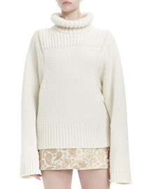 Long-Sleeve Turtleneck Sweater, Winter White