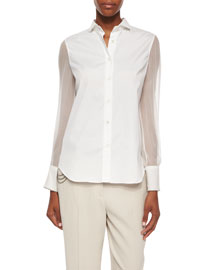 Poplin Button-Down Blouse w/ Silk Sleeves