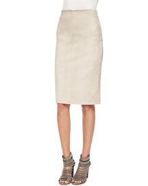 Lamb Suede Pencil Skirt