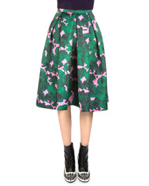 Ina Floral-Print Midi Party Skirt