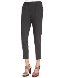 Pleated Wool Crepe Cropped Pants, Dark Gray