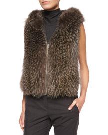 Hooded Fox Fur Vest