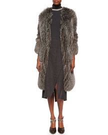 Fox Fur Cashmere-Knit Long Coat