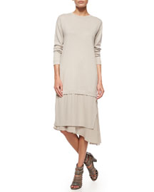 Cashmere Knit Asymmetric-Skirt Combo Dress
