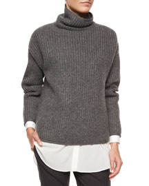 Oversized Cashmere English Rib Knit Sweater