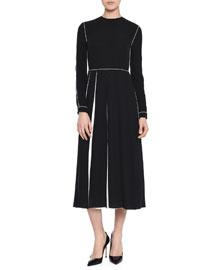 Contrast-Inset Pleated Tea-Length Dress
