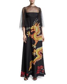 Swiss-Dot Flutter-Sleeve Dragon Gown, Black