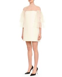 Tiered Flutter-Sleeve Shift Dress