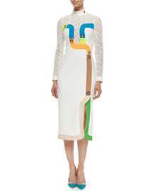 Lace-Inset Colorblock Track Midi Dress