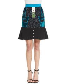 Avery Tweed Flared-Hem Skirt, Black/Blue