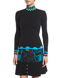 Squiggle-Trim Turtleneck Sweater, Black