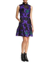 Nisette Flounce-Hem Trapeze Dress, Purple