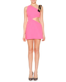 Asymmetric Cutout Hardware-Detailed Mini Dress