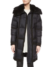 Shearling & Suede Trimmed Puffer Jacket